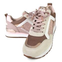 MICHAEL KORS 玫瑰金字LOGO異材質混搭粉色內增高休閒鞋