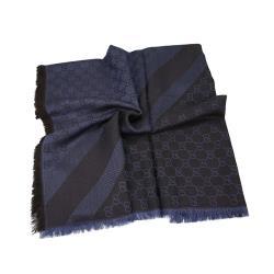 GUCCI LOGO絲羊毛方型流蘇披巾 140*140(單寧/深灰)