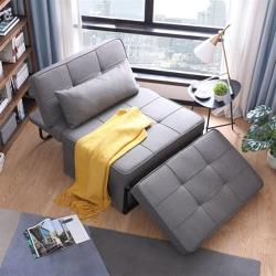 hoi!好好生活 林氏木業多功能可折疊單人躺椅沙發床LS050FC1-淺灰色