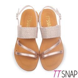 TTSNAP涼鞋-閃亮緞帶編織麻布牛皮平底涼鞋 金