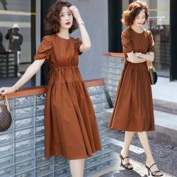 SZ-時尚單品純色收腰泡泡袖洋裝M-2XL(共三色)
