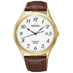 【SEIKO 精工】石英男錶 皮革錶帶 白 藍寶石玻璃鏡面 防水100米 日期顯示(SGEH78P1)
