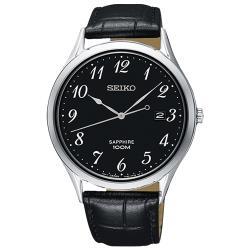 【SEIKO 精工】石英男錶 皮革錶帶 黑 藍寶石玻璃鏡面 防水100米 日期顯示(SGEH77P1)