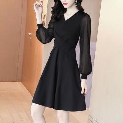 最水-赫本風小黑裙收腰洋裝