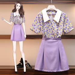 KVOLL-青春紫碎花雪紡襯衫搭配俏麗紫色短裙套裝L-4XL