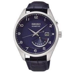 【SEIKO 精工】優雅人動能男錶 皮革錶帶 藍色錶面 防水100米(SRN061P1)
