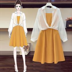KVOLL-甜美純色收腰吊帶洋裝搭扭結罩衫套裝L-4XL(共二色)