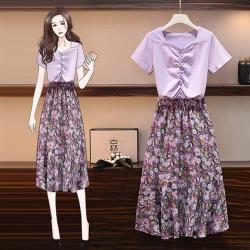 KVOLL-粉紫抓皺上衣浪漫碎花裙二件套裝L-4XL