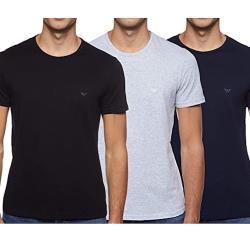 EMPORIO ARMANI 2021男時尚舒適黑藍灰色圓領內衣混搭3件組