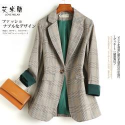【艾米蘭】韓版翻領撞色格紋西裝外套(M~XL)