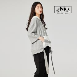 【iNio】設計款拼接時尚連帽上衣短袖上衣-現貨快出【C1W1004】