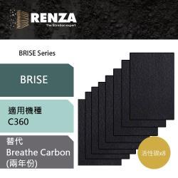 Renza活性碳濾網 適用Brise C360 可替換原廠 Breathe Carbon 一盒8片裝 空氣清淨機 濾芯 耗材 兩年份 除甲醛煙味