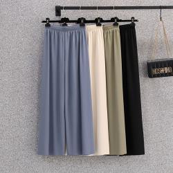 KVOLL-純色知性鬆緊腰舒適闊腿褲-F(共四色)