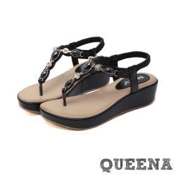 【QUEENA】時尚民族風美鑽寶石T字造型厚底夾腳涼鞋 黑
