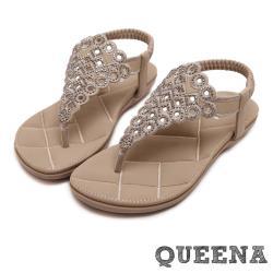 【QUEENA】幾何縷空編織水鑽人字舒適厚底涼鞋 米