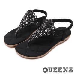 【QUEENA】幾何縷空編織水鑽人字舒適厚底涼鞋 黑