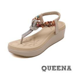 【QUEENA】璀璨水鑽民族風編織T字夾腳厚底涼鞋 米