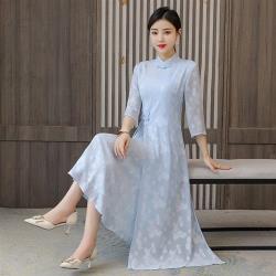 REKO-復古七分袖淡雅改良旗袍洋裝M-4XL(共二色)