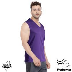 【Paloma】台灣製極涼感網眼排汗寬肩背心-紫色 背心 內衣