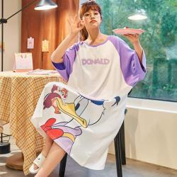 Wonderland 花栗鼠與唐鴉鴉100%棉寬鬆大碼睡裙