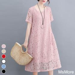 【MsMore】維多利亞緹花蕾絲大碼輕薄涼爽洋裝#106962現貨+預購j(6色)