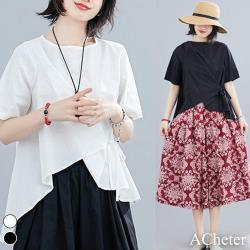 【ACheter】蘇丹采風斜腰綁帶寬鬆棉麻上衣#108913現貨+預購(2色)
