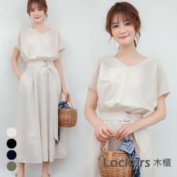 Lockers 木櫃 日韓V領短袖純色腰帶中長款連衣裙#11003151-4色