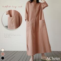 【ACheter】韓國森林悠靜大口袋寬鬆棉麻洋裝#106397現貨+預購(3色)