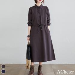 【ACheter】筆畫藝術采風雅致棉麻洋裝#108201現貨+預購(2色)