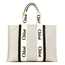 Chloe Woody tote bag帆布托特包(大號/海軍藍)