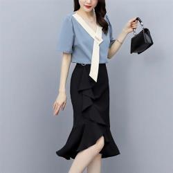 KVOLL-輕熟白領優雅上衣黑裙二件套裝L-5XL