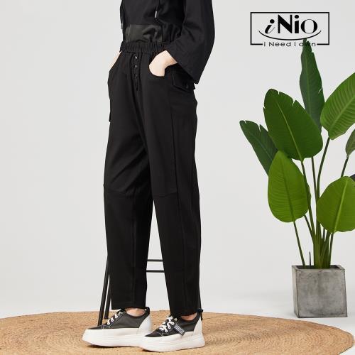 【iNio】個性假釦設計鬆緊腰長褲老爺褲老爹褲-現貨快出【C1W2023】/