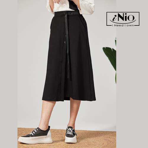 【iNio】拼接設計後鬆緊腰中長裙八分長裙-現貨快出【C1W2016】/