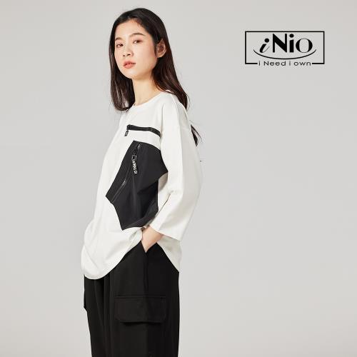 【iNio】拼接大口袋設計五分袖七分袖上衣-現貨快出【C1W1018】/