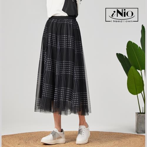 【iNio】點點格紋鬆緊腰網紗長裙長紗裙-現貨快出【C0W2215】/