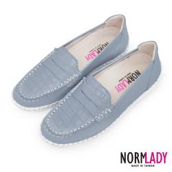 【Normlady 諾蕾蒂】經典款知性懶人樂福磁石內增高厚底氣墊球囊真皮鞋-MIT手工鞋(沉穩灰)
