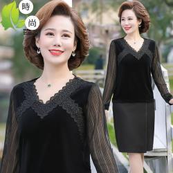 理子時尚-貴氣蕾絲拼接領口絲絨上衣XL-6XL