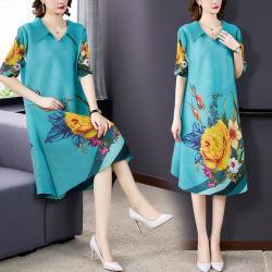 【KEITH-WILL】(預購) 獨家款時尚三宅壓褶風格印花洋裝
