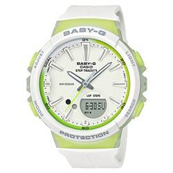 【CASIO 卡西歐】BABY-G 輕巧計步雙顯女錶 橡膠錶帶 白X綠 計步功能(BGS-100-7A2)