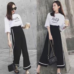 【韓國K.W.】(預購)簡約休閒逛街寬褲兩件套