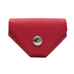 【Hermes】24 Verso 銀扣山羊皮扣式三角零錢包(莓紅)