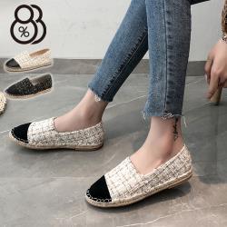 【88%】2cm休閒鞋 優雅氣質名媛小香風 毛呢草編平底圓頭包鞋