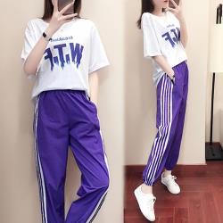 【韓國K.W.】(預購) 夏日自在文字套裝褲