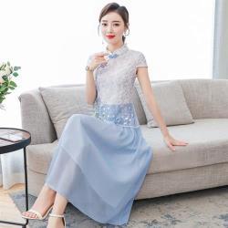 REKO-清新藍白網紗繡花改良旗袍洋裝M-3XL