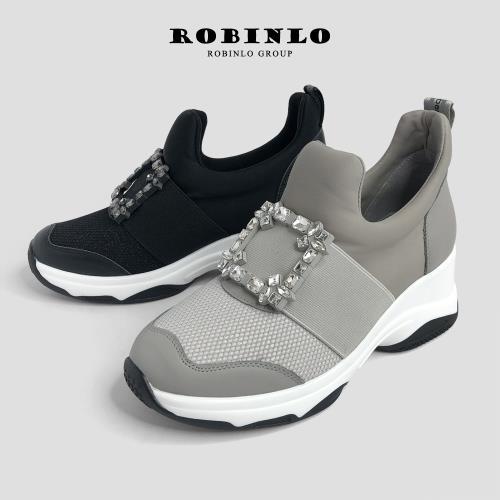 Robinlo奢華訂製珠寶方釦時尚增高鞋/