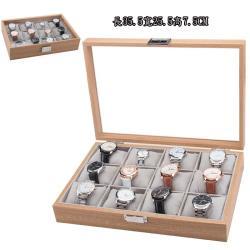 時尚木紋貼皮12格軟枕手錶盒