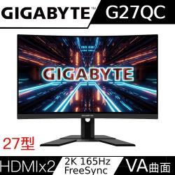 Gigabyte技嘉 G27QC 27型 2K 165Hz 1500R 曲面電競