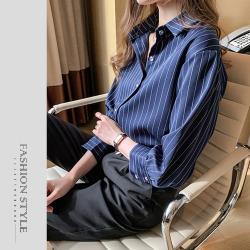 【GF 快時尚】簡約翻領條紋排扣上衣 (M-XL)