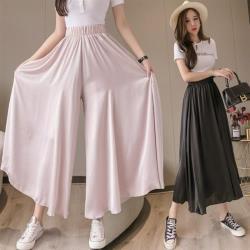Dorri-時尚百搭彈性鬆緊腰寬褲裙S-XL(共二色)