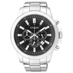 【CITIZEN 星辰】石英男錶 不鏽鋼錶帶 黑面 防水50米(AN8085-56E)